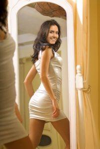 attractive brunette in tight dress