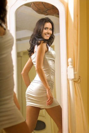 attractive brunette in tight dress